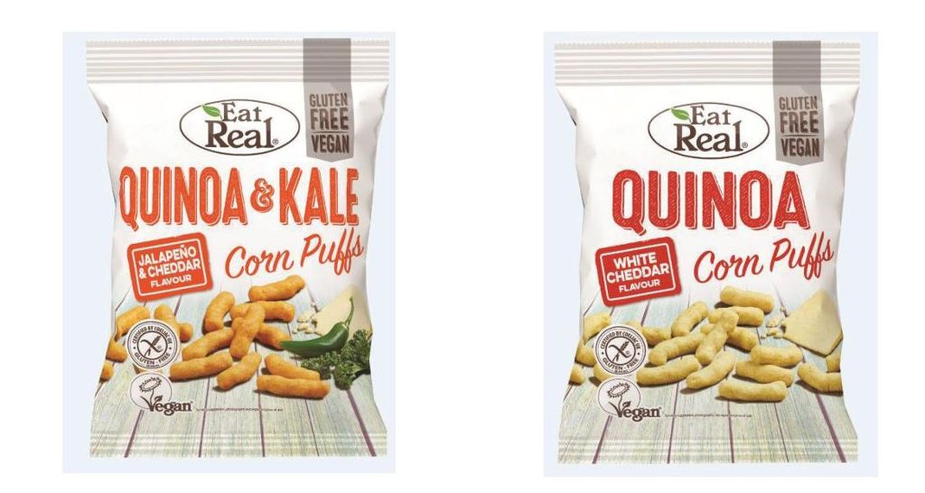 """Die GoFoods Company ruft die Artikel """"Eat Real Quinoa & Kale Corn Puffs Jalapeno & Cheddar"""" und """"Eat Real Quinoa Corn Puffs White Cheddar"""" zurück.  Foto: The GoFoods Company"""